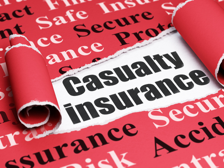 casualty: Insurance concept: black text Casualty Insurance under the curled piece of Red torn paper with  Tag Cloud