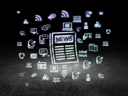 news room: News concept: Glowing Newspaper icon in grunge dark room with Dirty Floor, black background with  Hand Drawn News Icons