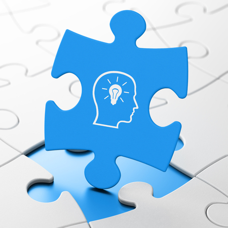 match head: Studying concept: Head With Lightbulb on Blue puzzle pieces background, 3d render Stock Photo