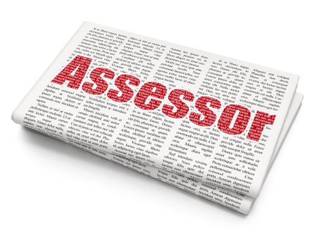 urgent announcement: Insurance concept: Pixelated red text Assessor on Newspaper background