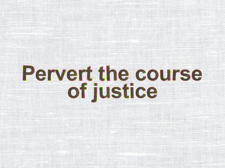 Law concept: CMYK Pervert the course Of Justice on linen fabric texture background