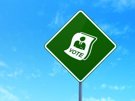 dictatorship: Political concept: Ballot on green road highway sign, clear blue sky background, 3d render