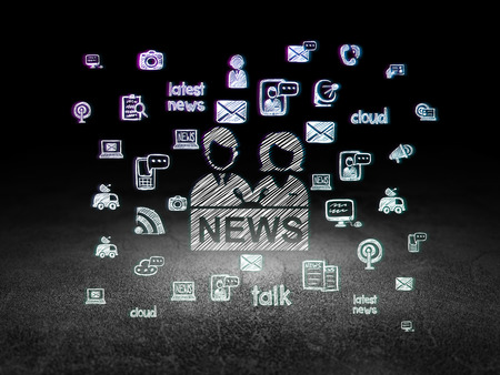 news room: News concept: Glowing Anchorman icon in grunge dark room with Dirty Floor, black background with  Hand Drawn News Icons