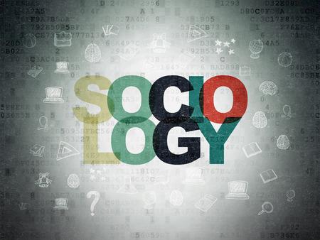 sociologia: Aprendizaje de conceptos: Pintado Sociología texto multicolor en el fondo de papel digital con iconos de educación dibujado a mano