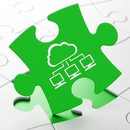 green computing: Cloud computing concept: Cloud Network on Green puzzle pieces background, 3d render