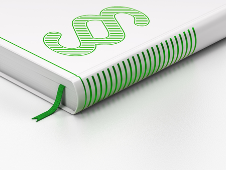Law concept: closed book with Green Paragraph icon on floor, white background, 3d render