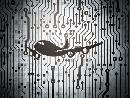 planos electricos: Travel concept: circuit board with  Airplane icon, 3d render Foto de archivo