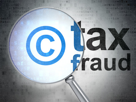 data protection act: Law concept: magnifying optical glass with Copyright icon and Tax Fraud word on digital background