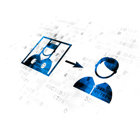 cyber defence: Law concept: Pixelated blue Criminal Freed icon on Digital background Stock Photo