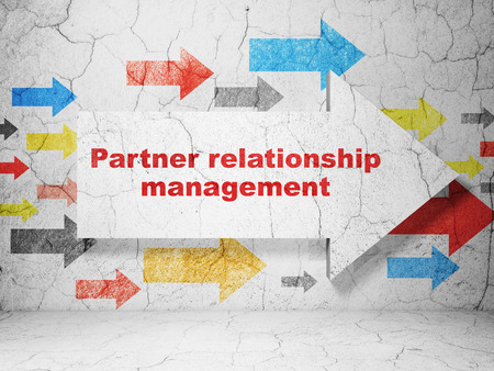 relationship management: Finance concept:  arrow with Partner Relationship Management on grunge textured concrete wall background