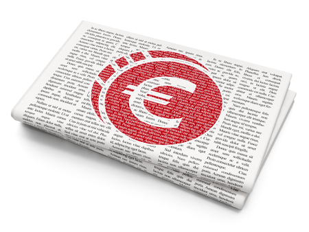 news values: Banking concept: Pixelated red Euro Coin icon on Newspaper background