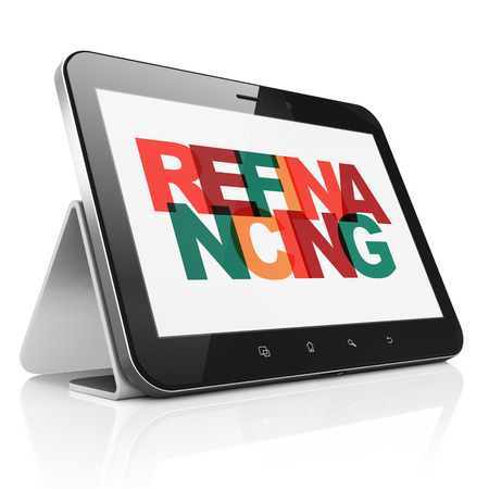 refinancing: Finance concept: Tablet Computer with Painted multicolor text Refinancing on display