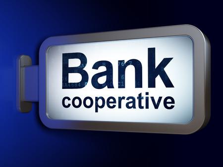 cooperativismo: Concepto de dinero: Banco Cooperativo en publicidad fondo cartelera, 3d