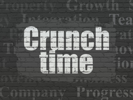 crunch: Finance concept: Painted white text Crunch Time on Black Brick wall background with  Tag Cloud