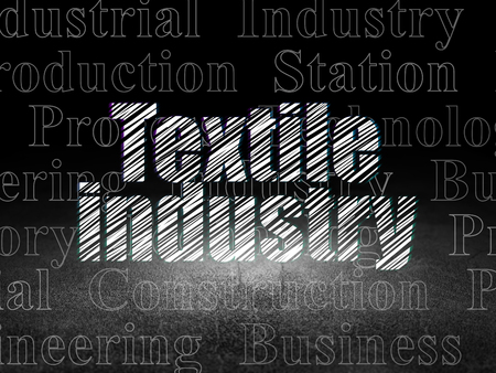 dirty room: Industry concept: Glowing text Textile Industry in grunge dark room with Dirty Floor, black background with  Tag Cloud Stock Photo