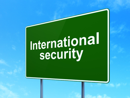 international security: Privacy concept: International Security on green road highway sign, clear blue sky background, 3d render