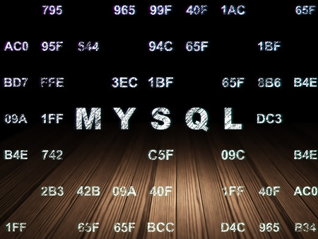mysql: Database concept: Glowing text MySQL in grunge dark room with Wooden Floor, black background with Hexadecimal Code Stock Photo