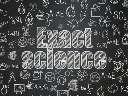 exact science: Science concept: Chalk White text Exact Science on School Board background with  Hand Drawn Science Icons