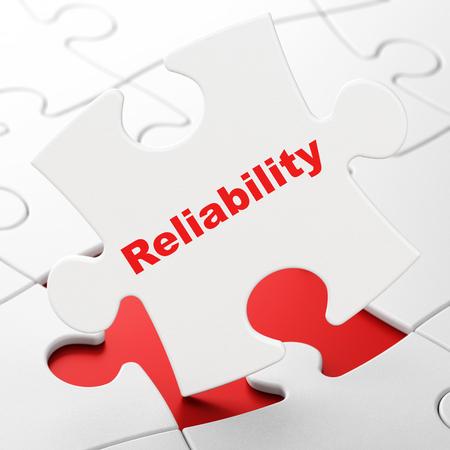 Business-Konzept: Zuverlässigkeit auf Weiß Puzzleteile Hintergrund, 3d render