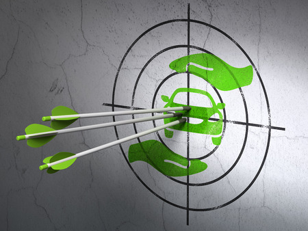 car care center: Success Insurance concept: arrows hitting the center of Green Car And Palm target on wall background Stock Photo