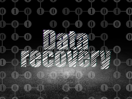 data recovery: Data concept: Glowing text Data Recovery in grunge dark room with Dirty Floor, black background with Scheme Of Binary Code