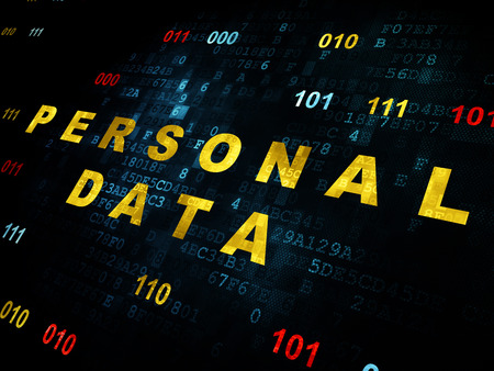 personal data: Information concept: Pixelated yellow text Personal Data on Digital wall background with Binary Code