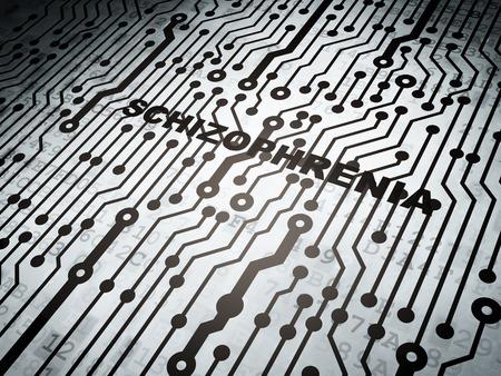esquizofrenia: Concepto de la salud: placa de circuito con la palabra esquizofrenia, la representación 3d