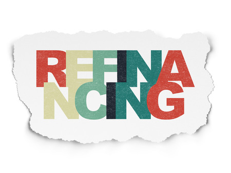 refinancing: Business concept: Painted multicolor text Refinancing on Torn Paper background Stock Photo