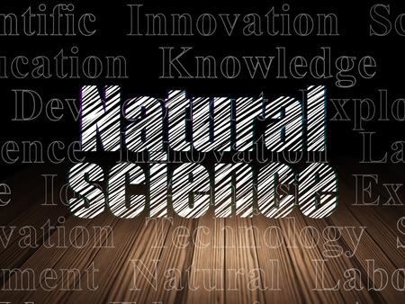 natural science: Science concept: Glowing text Natural Science in grunge dark room with Wooden Floor, black background with  Tag Cloud Stock Photo