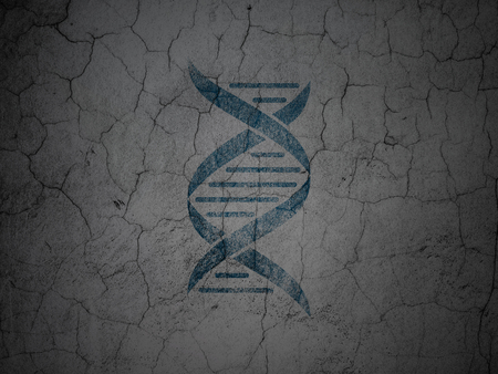 blue dna: Healthcare concept: Blue DNA on grunge textured concrete wall background Stock Photo
