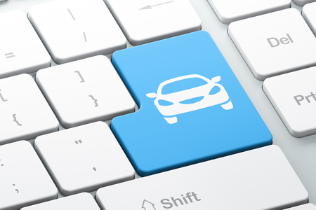 computer keys: Travel concept: Enter button with Car on computer keyboard background, 3d render Stock Photo