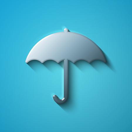 brolly: Protection concept: flat metallic Umbrella icon, transparent shadow on Blue background, vector illustration Illustration