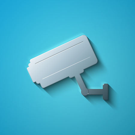 cctv camera: Security concept: flat metallic Cctv Camera icon, transparent shadow on Blue background, vector illustration