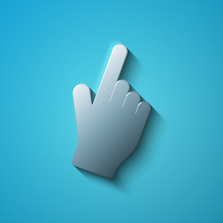 mouse cursor: Social media concept: flat metallic Mouse Cursor icon, transparent shadow on Blue background, vector illustration