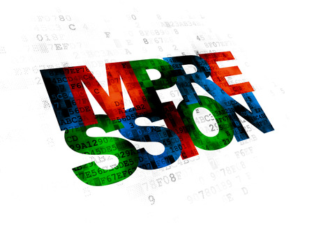 impression: Marketing concept: Pixelated multicolor text Impression on Digital background