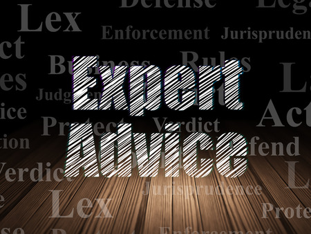 lex: Law concept: Glowing text Expert Advice in grunge dark room with Wooden Floor, black background with  Tag Cloud
