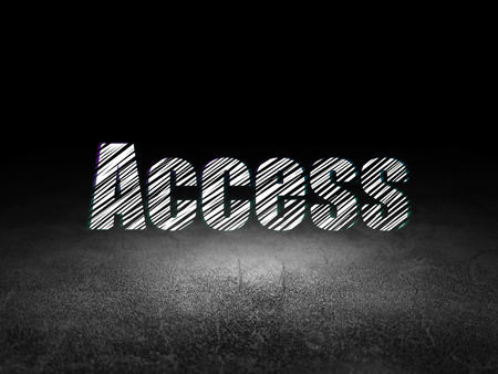 room access: Security concept: Glowing text Access in grunge dark room with Dirty Floor, black background