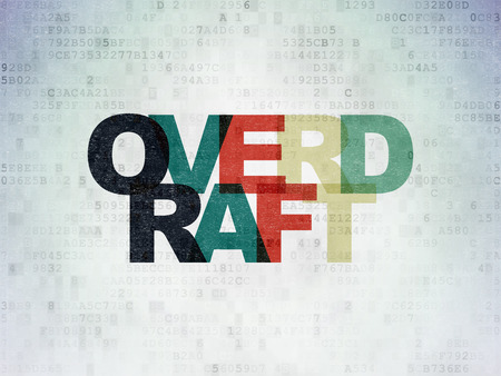 overdraft: Business concept: Painted multicolor text Overdraft on Digital Paper background Stock Photo