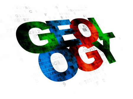 geology: Science concept: Pixelated multicolor text Geology on Digital background Stock Photo