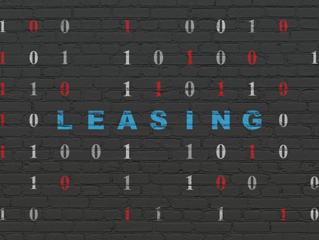 leasing: Business concept: Painted blue text Leasing on Black Brick wall background with Binary Code