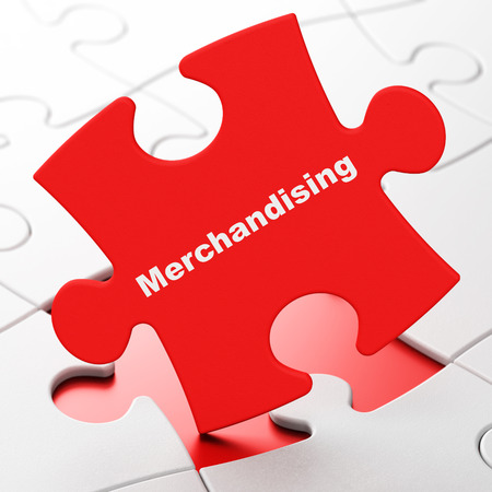 merchandising: Advertising concept: Merchandising on Red puzzle pieces background, 3d rendering Stock Photo