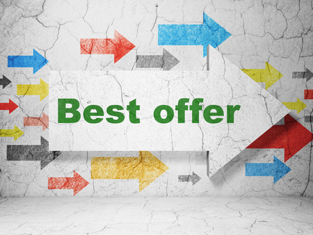 best ad: Advertising concept:  arrow with Best Offer on grunge textured concrete wall background, 3d rendering