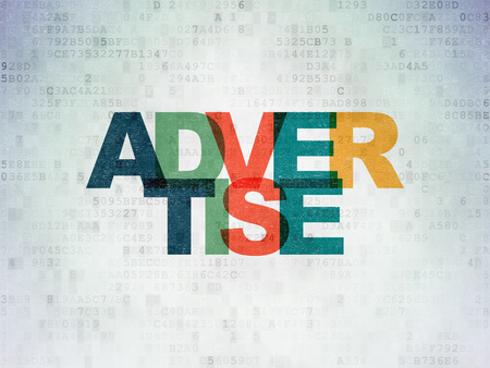 advertise: Marketing concept: Painted multicolor text Advertise on Digital Paper background