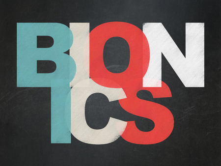 bionics: Science concept: Painted multicolor text Bionics on School Board background