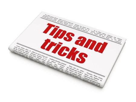 newspaper headline: Education concept: newspaper headline Tips And Tricks on White background, 3d rendering
