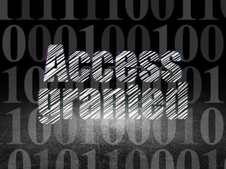 room access: Safety concept: Glowing text Access Granted in grunge dark room with Dirty Floor, black background with  Binary Code