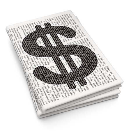 news values: Money concept: Pixelated black Dollar icon on Newspaper background