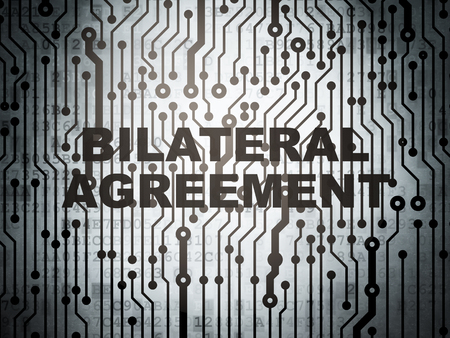 bilateral: Insurance concept: circuit board with  word Bilateral Agreement, 3d render Stock Photo