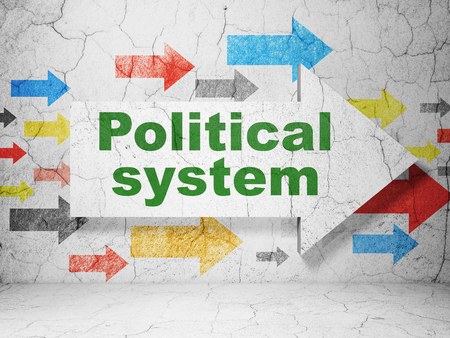 political system: Political concept:  arrow with Political System on grunge textured concrete wall background 3D rendering