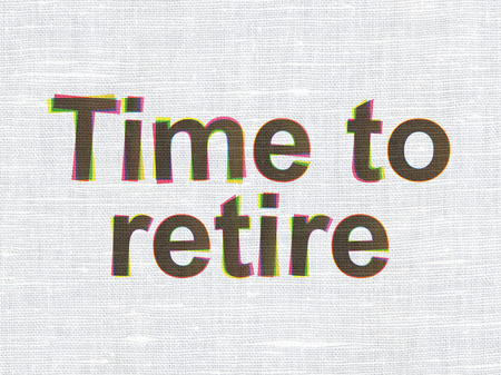 retire: Timeline concept: CMYK Time To Retire on linen fabric texture background Stock Photo